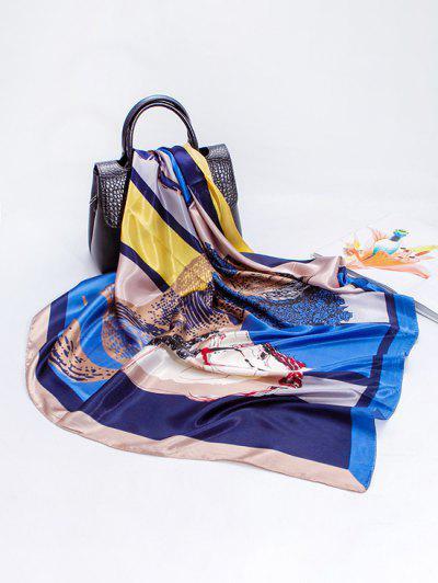 Écharpe Créative En Simili-Soie Fine Avec Imprimé Cheval Couleur Changeante - Bleu Cristal