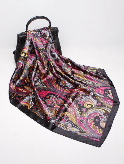 Paisley Print Faux Silk Square Scarf - Black