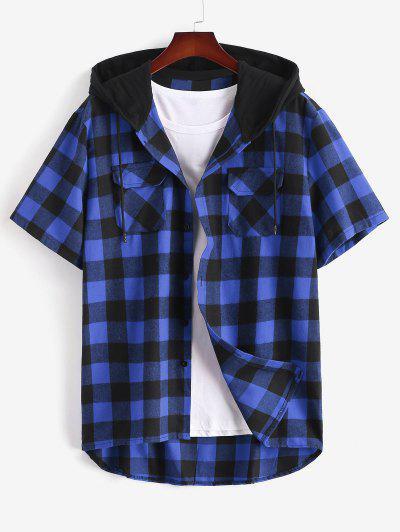 Plaid Print Front Pocket Hooded Shirt - Blue M