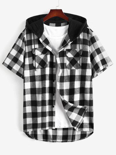 Plaid Print Front Pocket Hooded Shirt - Black L