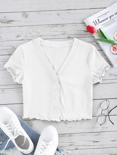 ZAFUL Lettuce Trim Button Up Ribbed Cropped Tee - White M