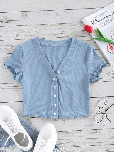 ZAFUL Lettuce Trim Button Up Ribbed Cropped Tee - Light Blue M