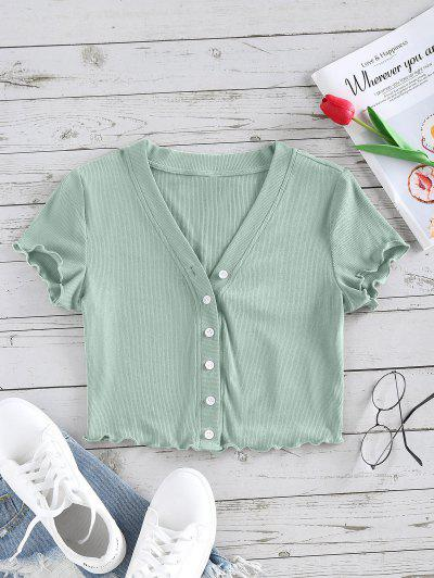 ZAFUL Lettuce Trim Button Up Ribbed Cropped Tee - Light Green L