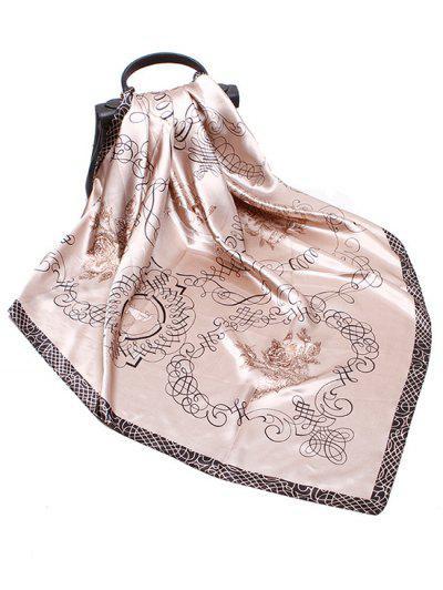 Rose Scribble Print Faux Silk Square Scarf - Light Khaki