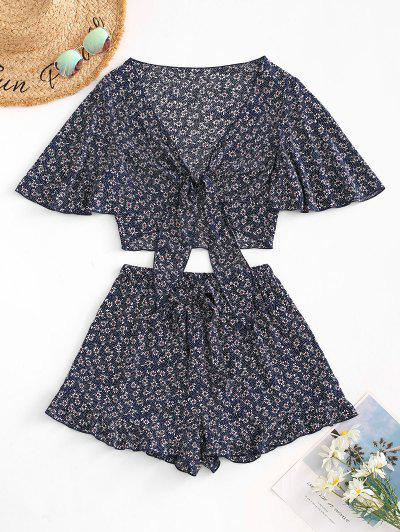 ZAFUL Ditsy Print Tied Ruffle Wide Leg Shorts Set - Deep Blue M