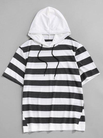T-Shirt Rayé à Capuche à Manches Courtes Avec Cordon - Gris Foncé M