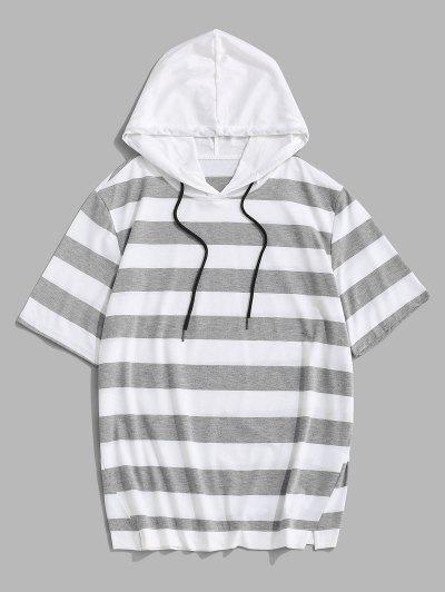 T-Shirt Rayé à Capuche à Manches Courtes Avec Cordon - Gris Clair L