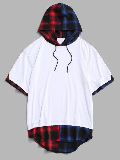 Colorblock Spliced Plaid Hooded T-Shirt - White L