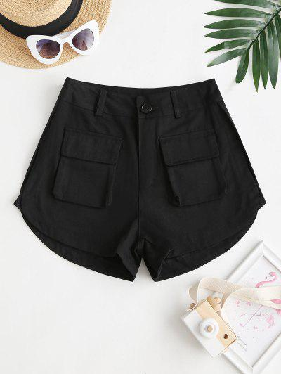 High Waisted Front Pockets Cargo Shorts - Black L
