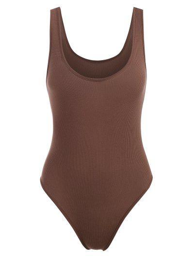 Basic Rib-knit Tank Bodysuit - Coffee M