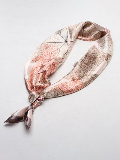 Leaf Print Square Faux Silk Scarf - Light Khaki