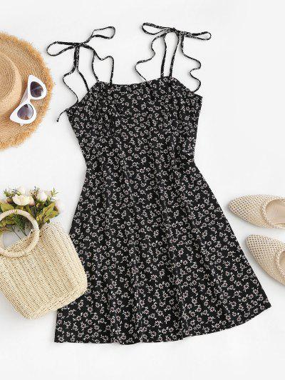 ZAFUL Tie Shoulder Tiny Floral Mini Dress - Black S