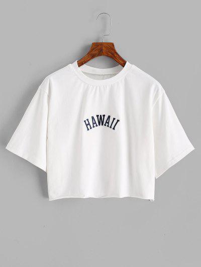 T-shirt Especial De Emagrecimento Bainha Desgastada - Branco S