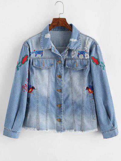 Floral Bird Embroidered Raw Hem Ripped Denim Jacket - Blue L