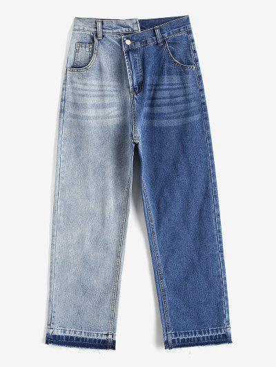 Bicolor Frayed Hem Straight Crossover Jeans - Blue Gray M
