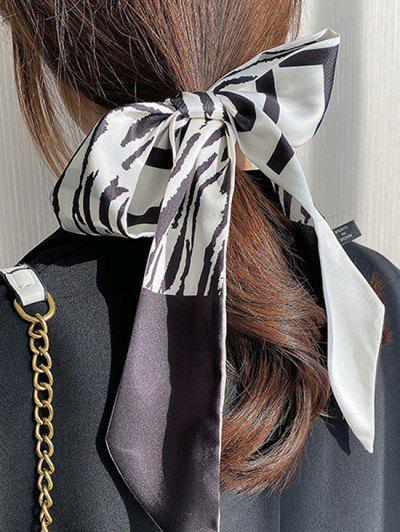 Silky Zebra Print Pointed End Long Hair Scarf - Multi-b