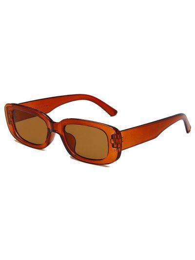 Narrow Rectangle Retro Sunglasses - Mahogany