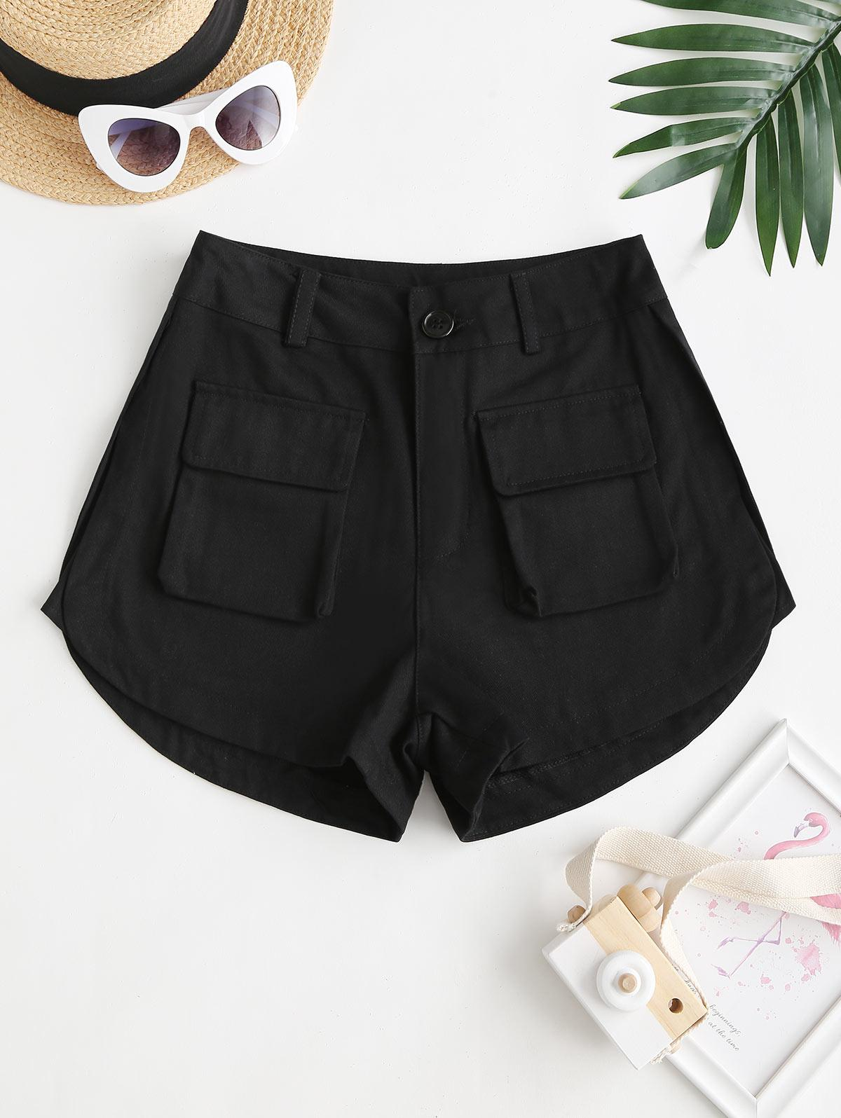 High Waisted Front Pockets Cargo Shorts