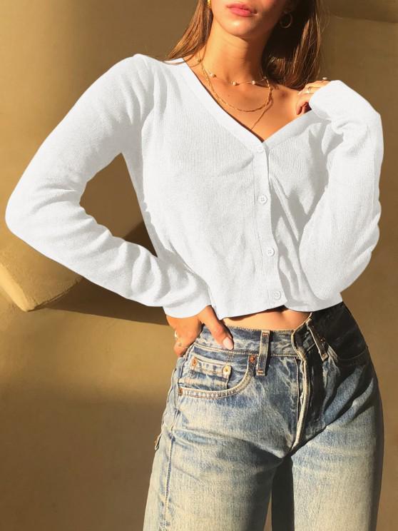 Button Up Basic Cardigan - كريم كريستال S