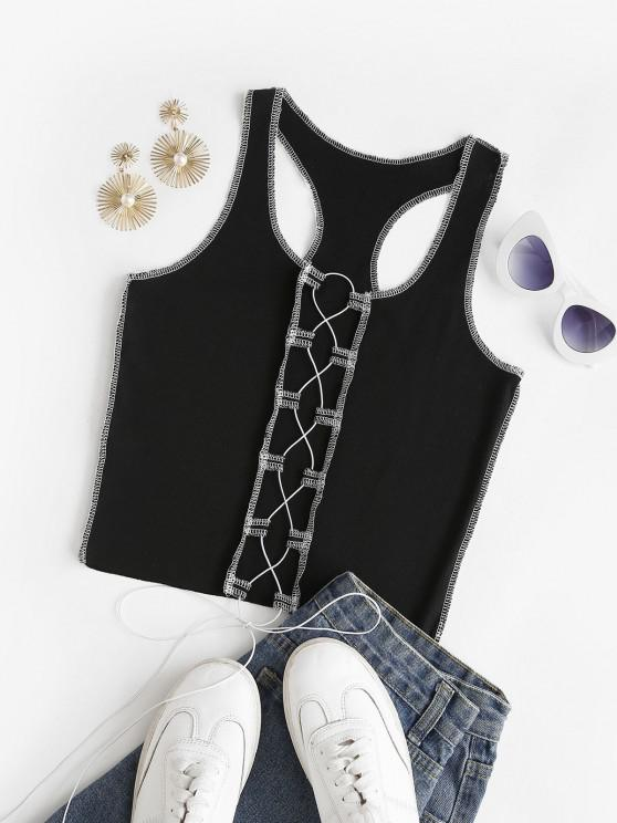 unique Rib-knit Topstitching Lace-up Racer Tank Top - BLACK S