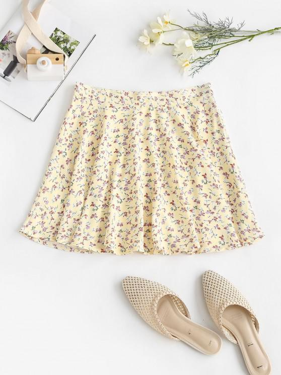 ladies Tiny Floral Swing Mini Skirt - LIGHT YELLOW S
