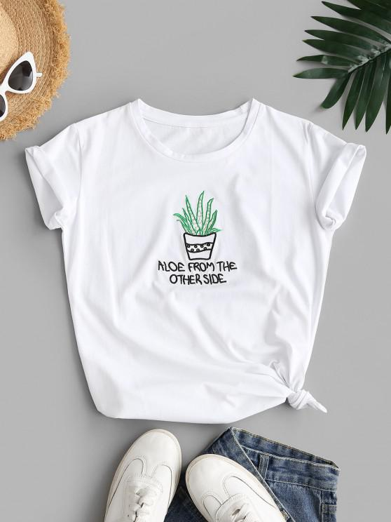 lady Letter Potted Plant Embroidered Basic Tee - WHITE M