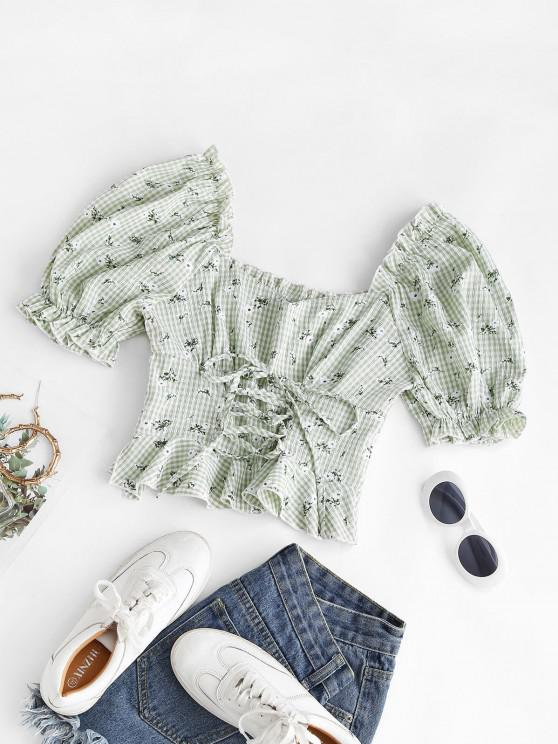 sale Gingham Floral Lace-up Peplum Puff Sleeve Milkmaid Blouse - LIGHT GREEN S