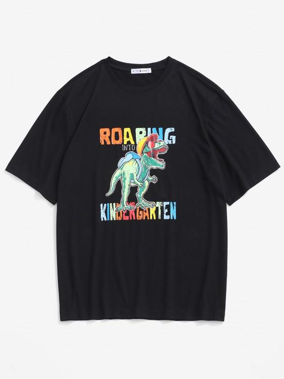 Cartoon Dinosaur Print Graphic T-shirt - أسود XL
