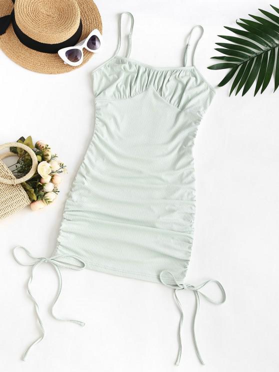 lady ZAFUL Plus Size Rib-knit Cinched Ruched Slinky Bodycon Cami Dress - LIGHT GREEN 5XL