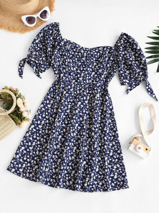 chic Tie Sleeve Bustier Smocked Back Tiny Floral Dress - BLUE M