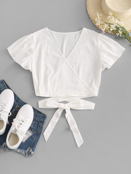 trendy Surplice Plunging Wrap Waist Blouse - WHITE S