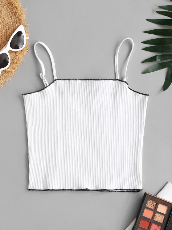 buy Cropped Contrast Stitching Ribbed Cami Top - WHITE ONE SIZE