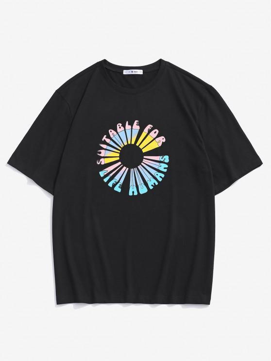 affordable Letter Flower Print Short Sleeve T-shirt - BLACK L