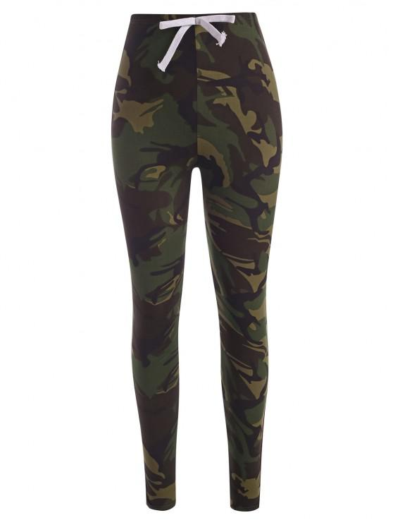 Side Striped Camo Skinny Pants - ACU التمويه L