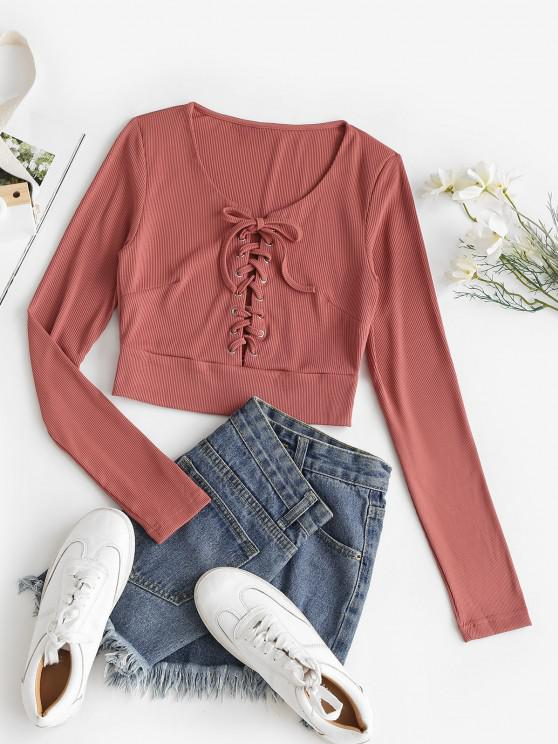 womens Rib-knit Lace-up Crop Top - RED L