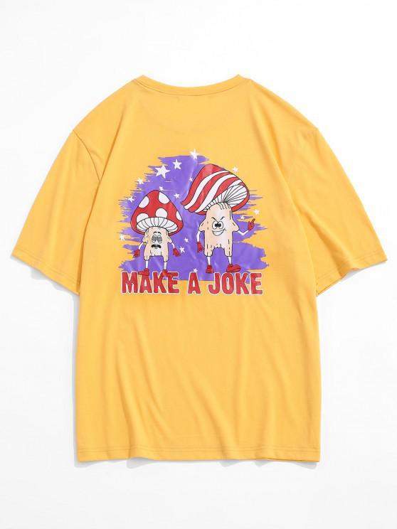 Cartoon Mushroom Print Graphic T-shirt - الأصفر XL