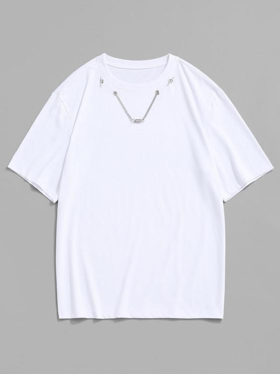 Kurzarm T-Shirt mit Frühlings Detail - Weiß M