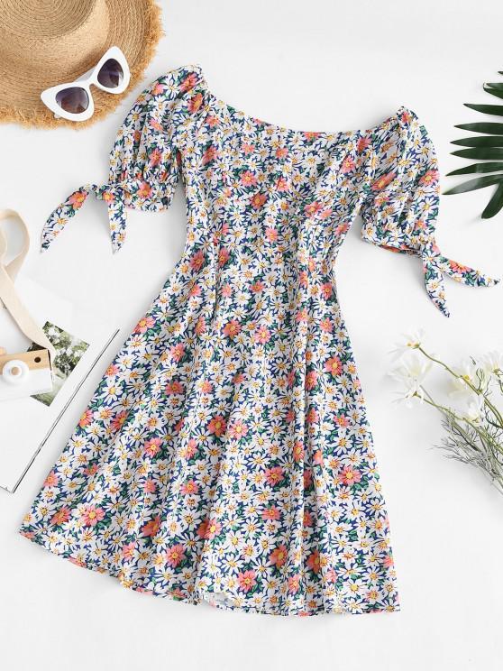 Vestido Floral con Nudo y Lazo - Multicolor L