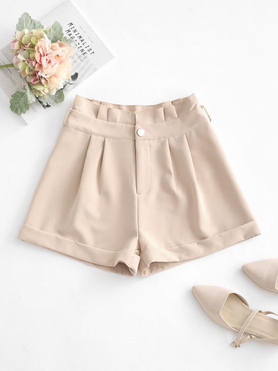 Gerollte Shorts mit Weitem Bein und Rüschen - Licht Kaffee S