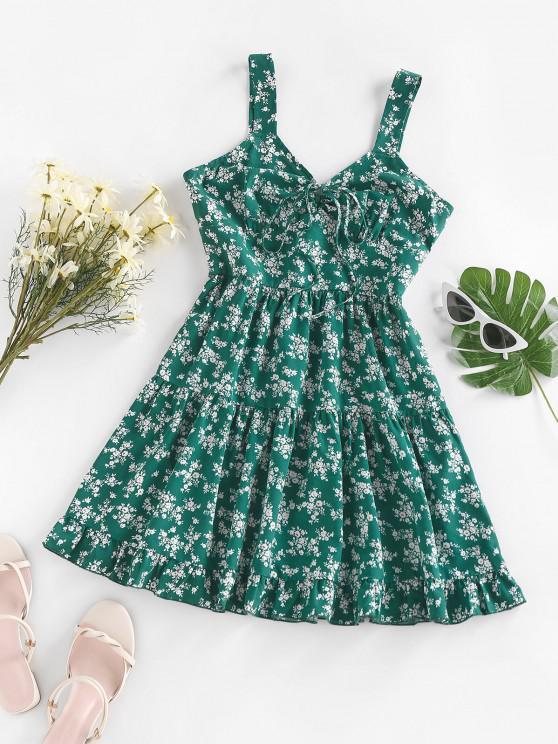 women's ZAFUL Tiny Flower Printed Flounce Tiered Dress - GREEN S
