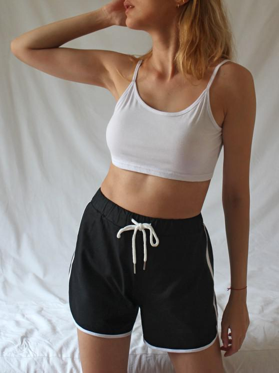 fashion Crop Cami Top and Piping Shorts Set - MULTI M