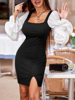 Ribbed Poet Sleeve Slinky Milkmaid Dress - Black Xl