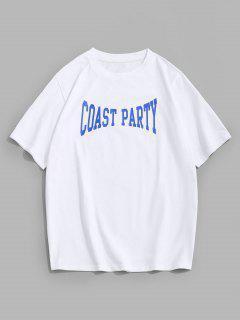 ZAFUL T-shirt Lettre Point De Boutonnière Séduisante Imprimée - Blanc S