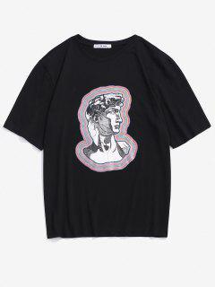 Stripes Character David Print Short Sleeve T-shirt - Black L