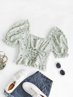 Gingham Floral Lace-up Peplum Puff Sleeve Milkmaid Blouse - Light Green L
