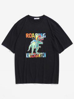 Cartoon Dinosaur Print Graphic T-shirt - Black S