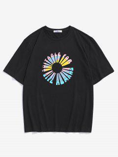 T-shirt A Maniche Corte Con Stampa A Fiori E Lettera - Nero M