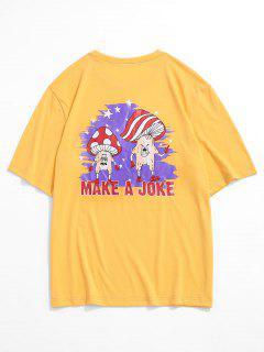 T-shirt Graphique Champignon Dessin Animé Imprimé - Jaune Xl