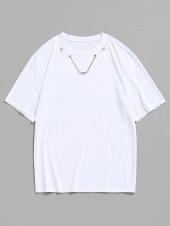 T-shirt Imprimé Chaîne Détaillée à Manches Courtes - Blanc S