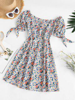 Tie Sleeve Bustier Smocked Back Floral Dress - Multi M